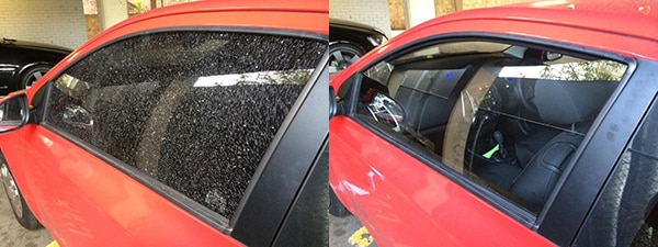 Red Car before photo shows completely shattered front side door window. After photo has new glass following the window replacement job.