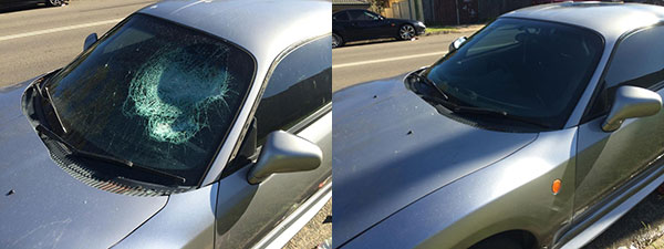 Before & after photos of a windscreen replacement.