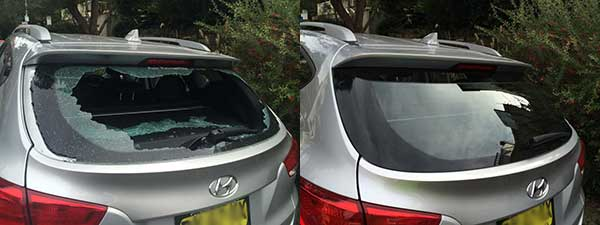 Before & after photos of a read windscreen replacement.