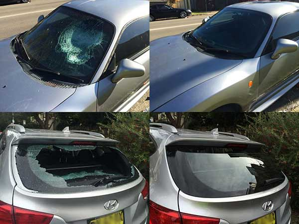 Before and after photos of front windscreen and rear window replacements