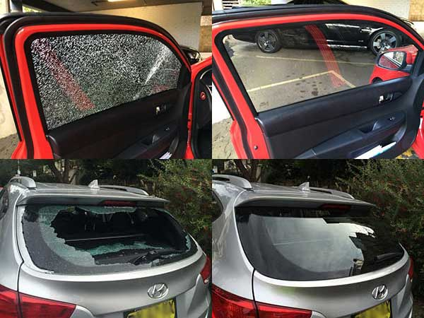 Before and after photos of side window and rear window replacements